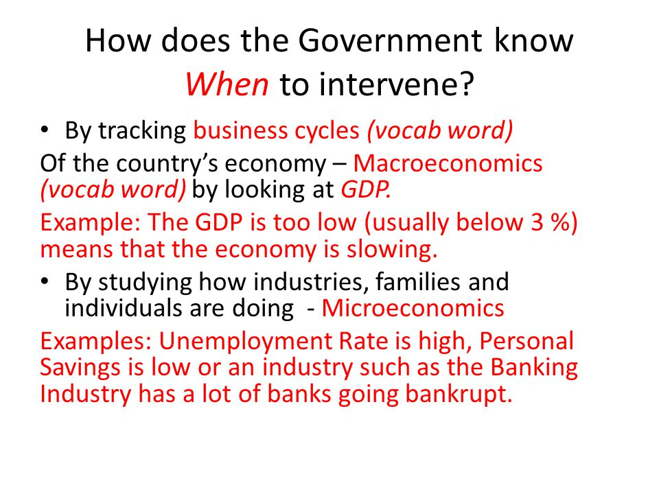 How does the Government know When to intervene? By tracking business cycles (vocab word) Of the country's economy – Macroeconomics (vocab word) by loo