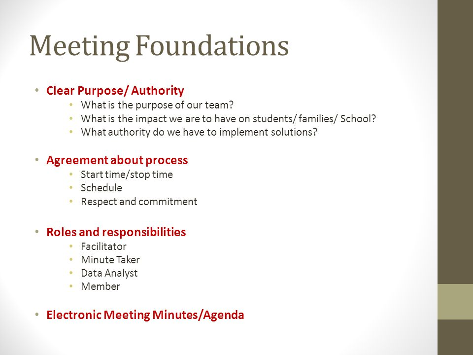 Meeting Foundations Clear Purpose/ Authority What is the purpose of our team.