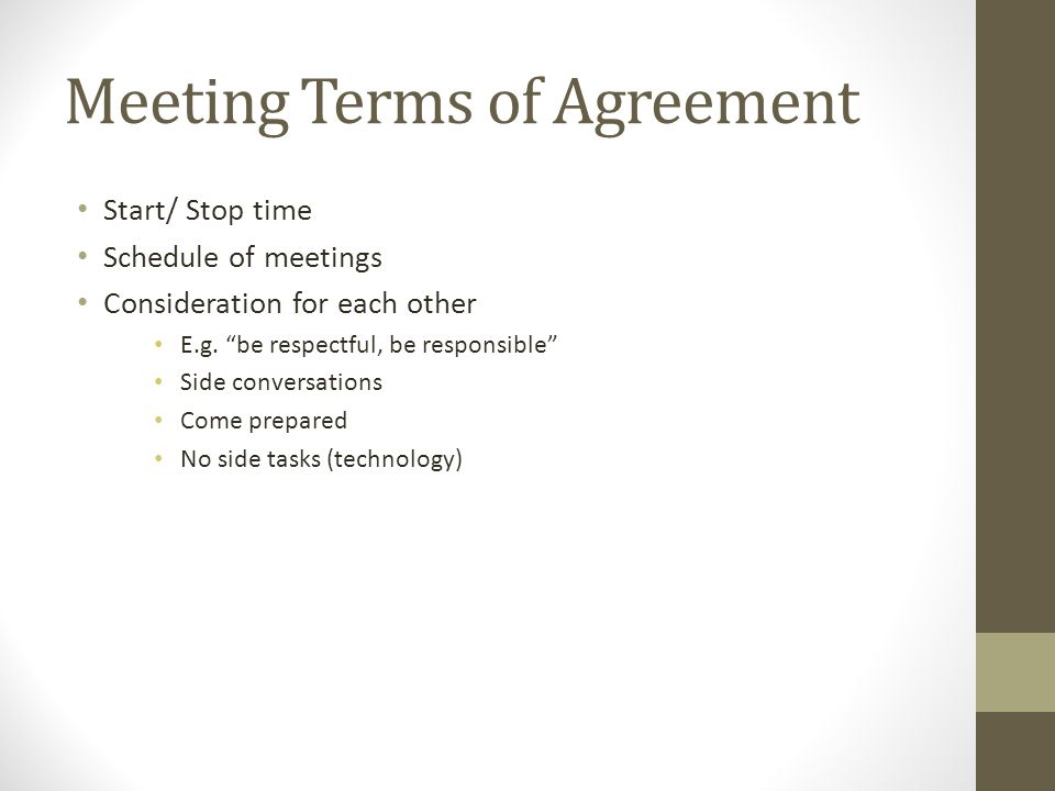 Meeting Terms of Agreement Start/ Stop time Schedule of meetings Consideration for each other E.g.