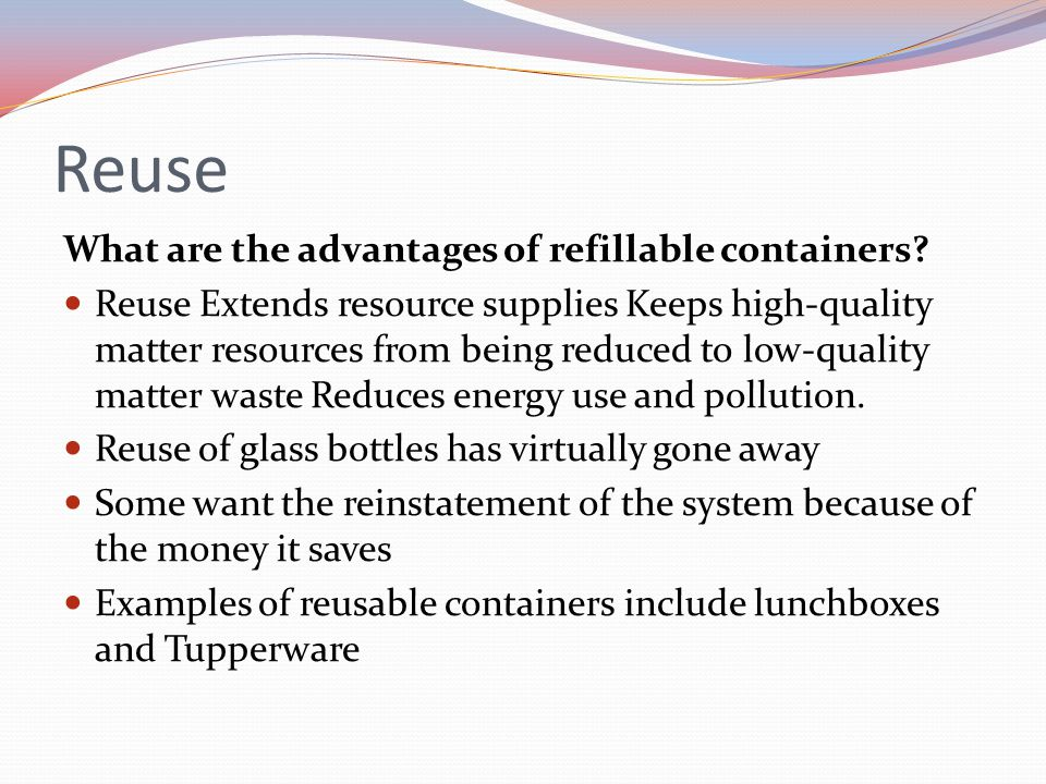Plastic containers degrade slowly. Paper bags use trees and pollute the air and water