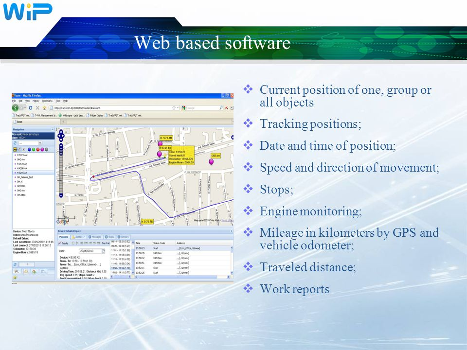 Web based software  Fuel tank cap control  Driver identification;  SOS button;  Ability to add additional points and areas on the map;  Event notifications;  Compilation, review and print reports for work time, stops and stay, a list of visited places, mileages for selected time interval, fuel, etc.