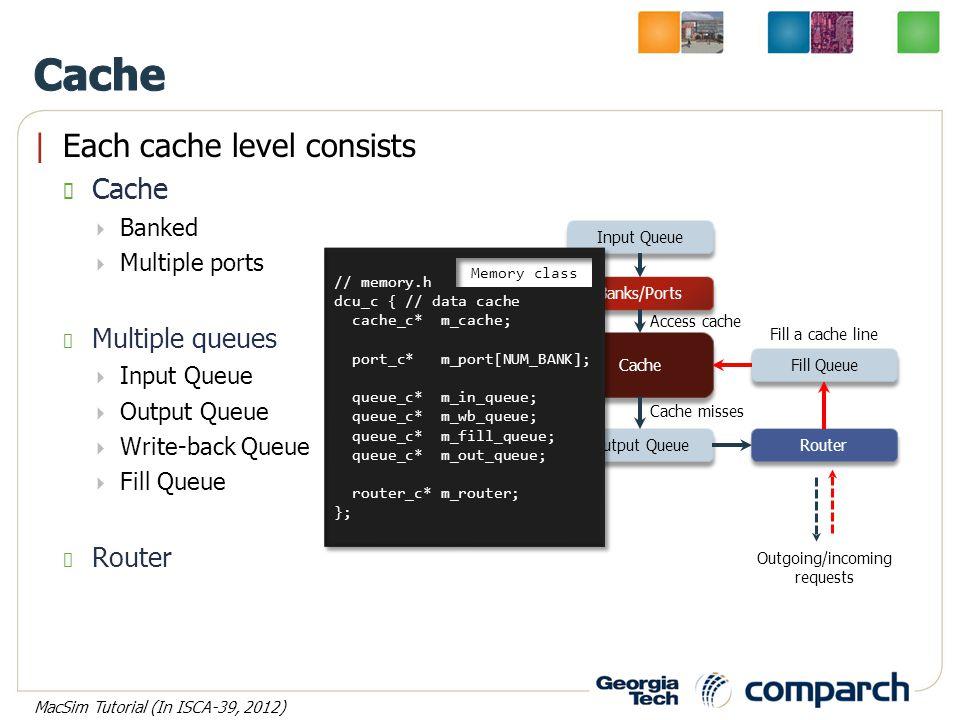 |Each cache level consists Cache  Banked  Multiple ports Multiple queues  Input Queue  Output Queue  Write-back Queue  Fill Queue Router Input Queue WB Queue Output Queue Fill Queue Cache Router Banks/Ports Access cache Cache misses Write-back Fill a cache line Outgoing/incoming requests // memory.h dcu_c { // data cache cache_c* m_cache; port_c* m_port[NUM_BANK]; queue_c* m_in_queue; queue_c* m_wb_queue; queue_c* m_fill_queue; queue_c* m_out_queue; router_c* m_router; }; // memory.h dcu_c { // data cache cache_c* m_cache; port_c* m_port[NUM_BANK]; queue_c* m_in_queue; queue_c* m_wb_queue; queue_c* m_fill_queue; queue_c* m_out_queue; router_c* m_router; }; Memory class MacSim Tutorial (In ISCA-39, 2012)