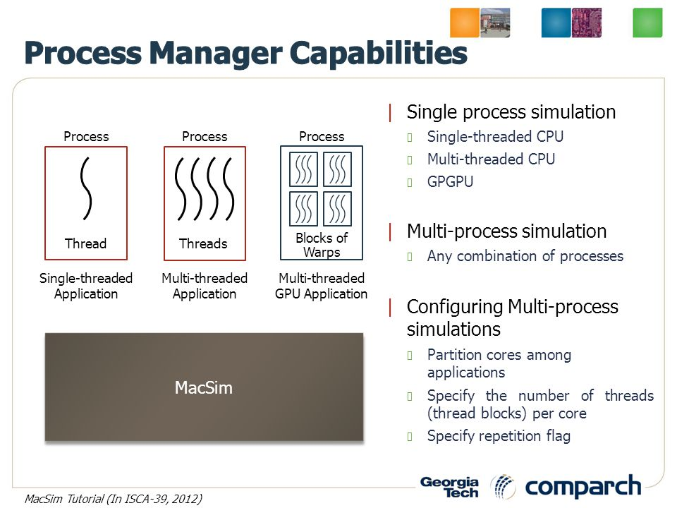 |Single process simulation Single-threaded CPU Multi-threaded CPU GPGPU |Multi-process simulation Any combination of processes |Configuring Multi-process simulations Partition cores among applications Specify the number of threads (thread blocks) per core Specify repetition flag Process Thread Single-threaded Application Multi-threaded Application Process Threads Process Warps Multi-threaded GPU Application Blocks of MacSim MacSim Tutorial (In ISCA-39, 2012)