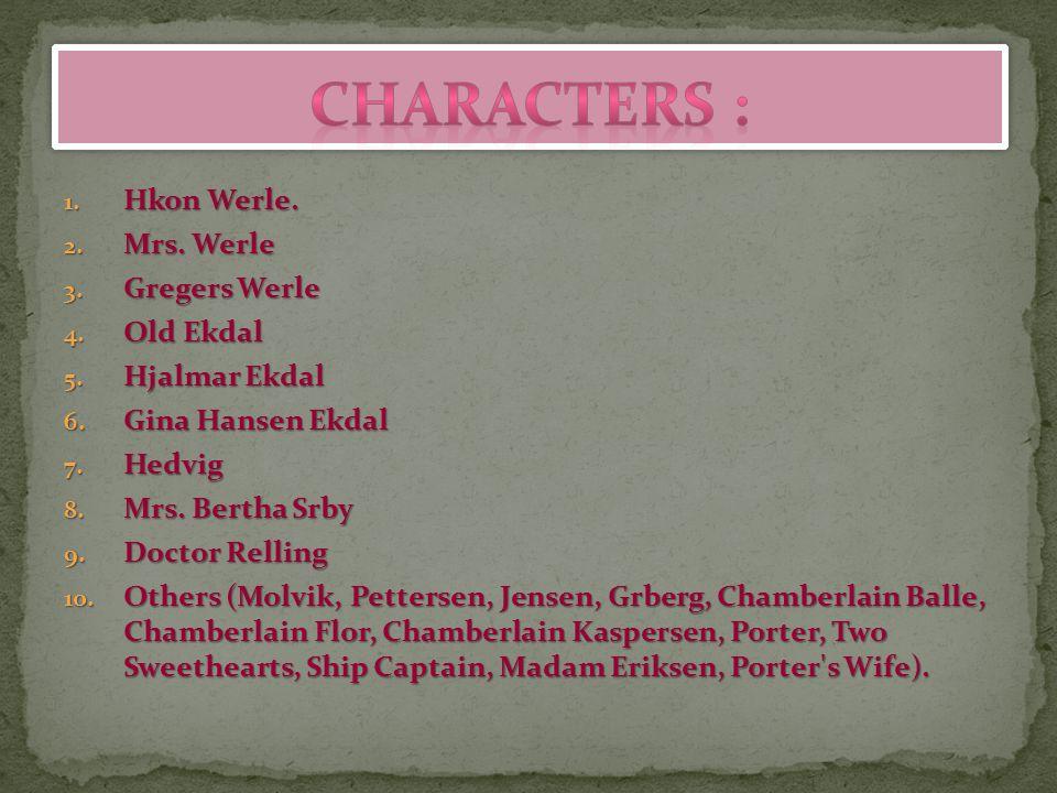 1. Hkon Werle. 2. Mrs. Werle 3. Gregers Werle 4. Old Ekdal 5. Hjalmar Ekdal 6. Gina Hansen Ekdal 7. Hedvig 8. Mrs. Bertha Srby 9. Doctor Relling 10. O