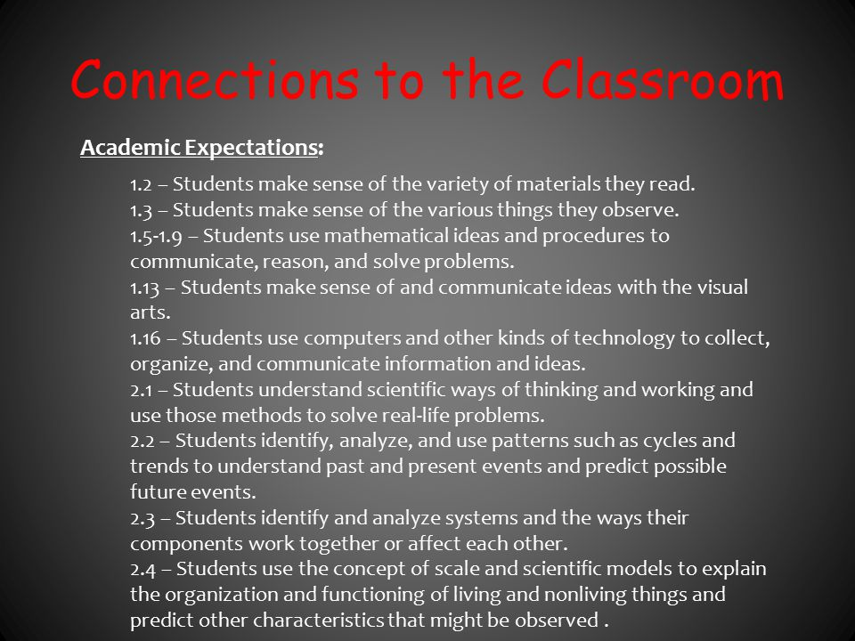 Connections to the Classroom Academic Expectations: 1.2 – Students make sense of the variety of materials they read. 1.3 – Students make sense of the