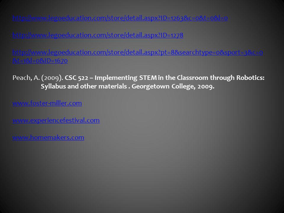 http://www.legoeducation.com/store/detail.aspx ID=1263&c=0&t=0&l=0 http://www.legoeducation.com/store/detail.aspx ID=1278 http://www.legoeducation.com/store/detail.aspx pt=8&searchtype=0&sport=3&c=0 &t=1&l=0&ID=1670 Peach, A.