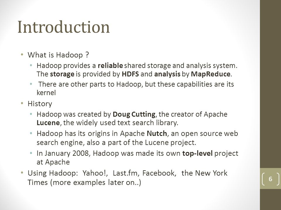 The Hadoop ecosystem: Common A set of components and interfaces for distributed file systems and general I/O (serialization, Java RPC, persistent data structures).