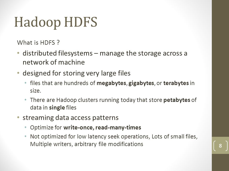 Hadoop HDFS Highlights File block are distributed among nodes in the cluster Block are typically 64MB Blocks are replicated on different nodes (3 times as default) Fault tolerance mechanisms make sure that when a node goes down, all blocks handled by this node are replicated to other nodes If a block becomes unavailable, a copy can be read from another location in a way that is transparent to the client (more on that later) 9