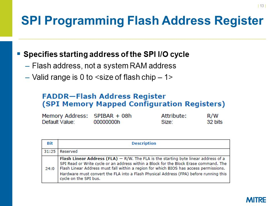 | 13 | SPI Programming Flash Address Register  Specifies starting address of the SPI I/O cycle –Flash address, not a system RAM address –Valid range is 0 to