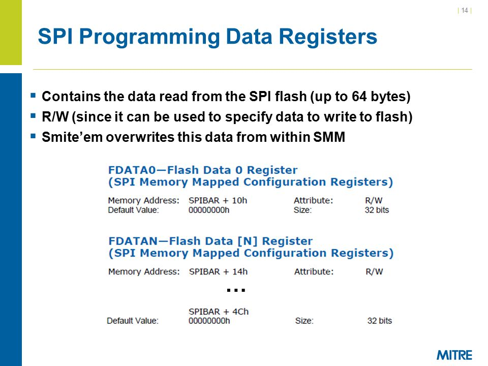 | 14 | SPI Programming Data Registers  Contains the data read from the SPI flash (up to 64 bytes)  R/W (since it can be used to specify data to writ