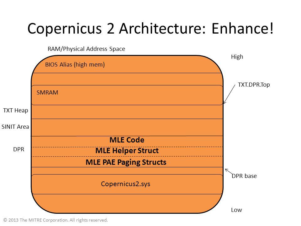 Copernicus 2 Architecture: Enhance. © 2013 The MITRE Corporation.