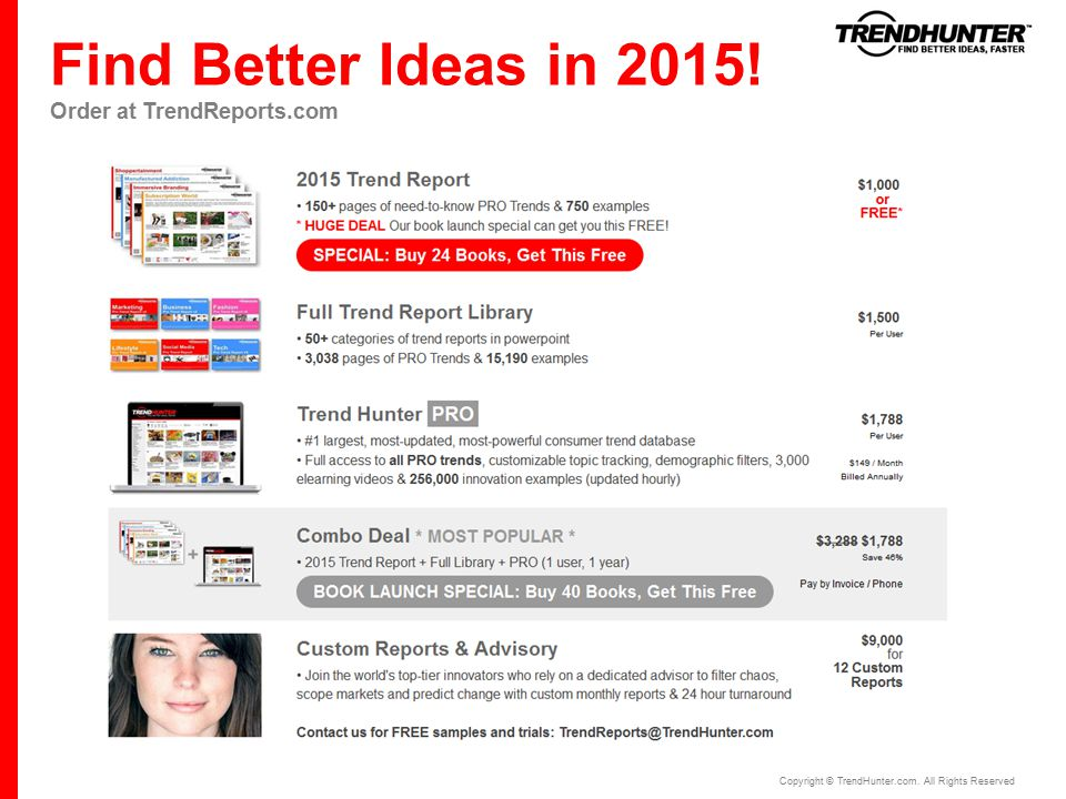 Find Better Ideas in 2015. Order at TrendReports.com Copyright © TrendHunter.com.