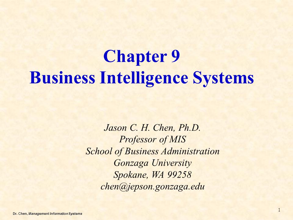 Dr. Chen, Management Information Systems Chapter 9 Business Intelligence Systems Jason C. H. Chen, Ph.D. Professor of MIS School of Business Administr