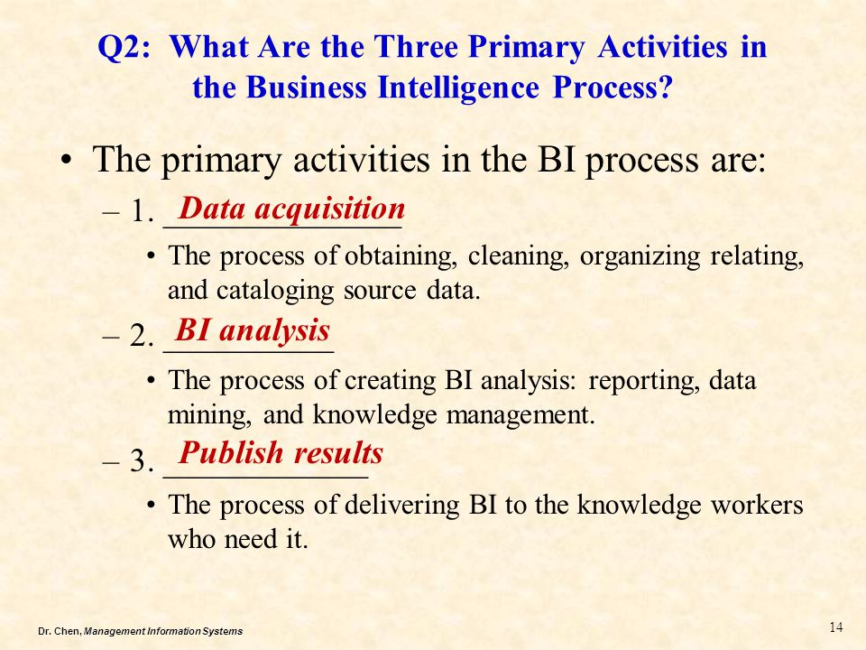 Dr. Chen, Management Information Systems Q2: What Are the Three Primary Activities in the Business Intelligence Process? The primary activities in the