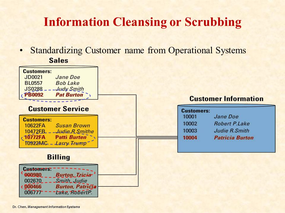 Dr. Chen, Management Information Systems Information Cleansing or Scrubbing Standardizing Customer name from Operational Systems