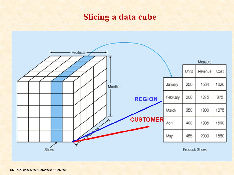 Dr. Chen, Management Information Systems Slicing a data cube CUSTOMER REGION