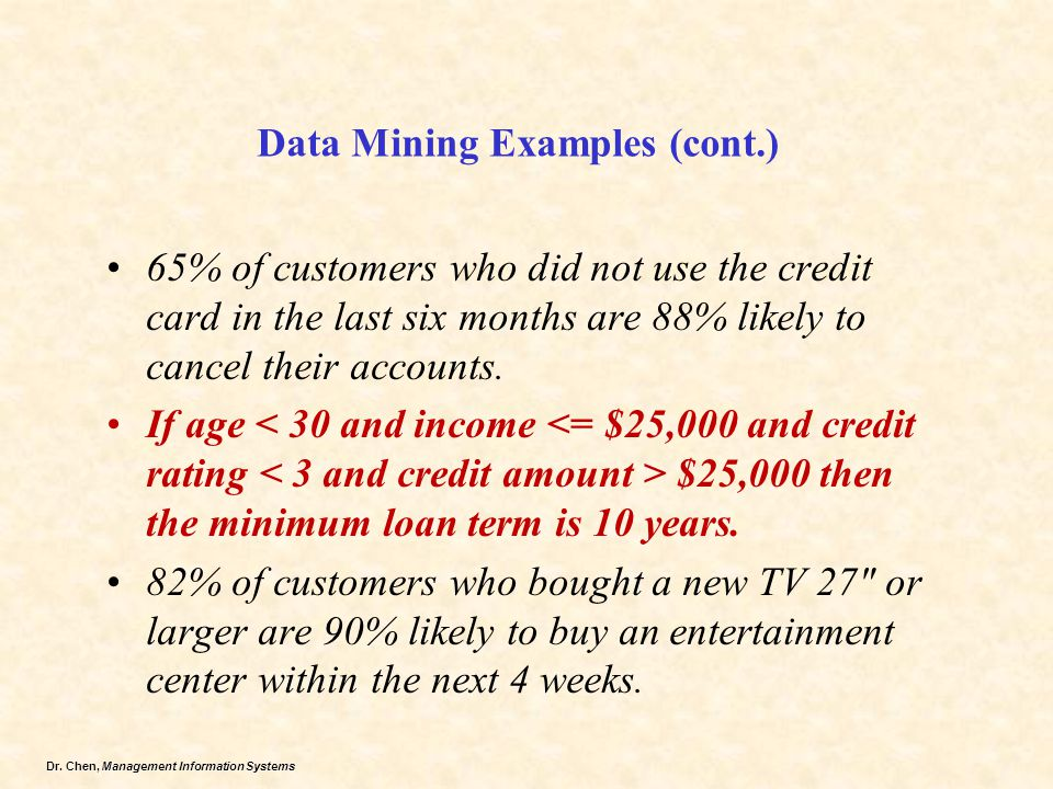 Dr. Chen, Management Information Systems Data Mining Examples (cont.) 65% of customers who did not use the credit card in the last six months are 88%