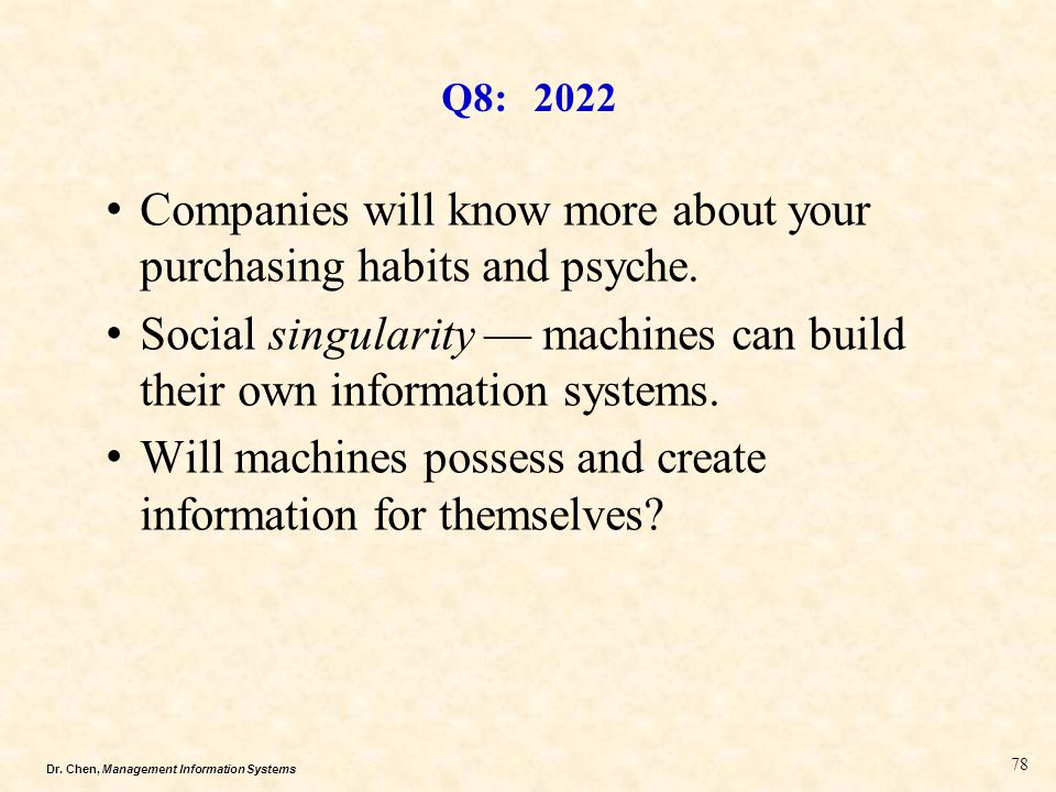 Dr. Chen, Management Information Systems Q8: 2022 Companies will know more about your purchasing habits and psyche. Social singularity — machines can