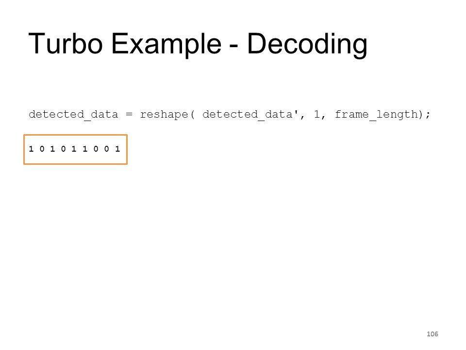 Turbo Example - Decoding 106 detected_data = reshape( detected_data', 1, frame_length); 1 0 1 0 1 1 0 0 1