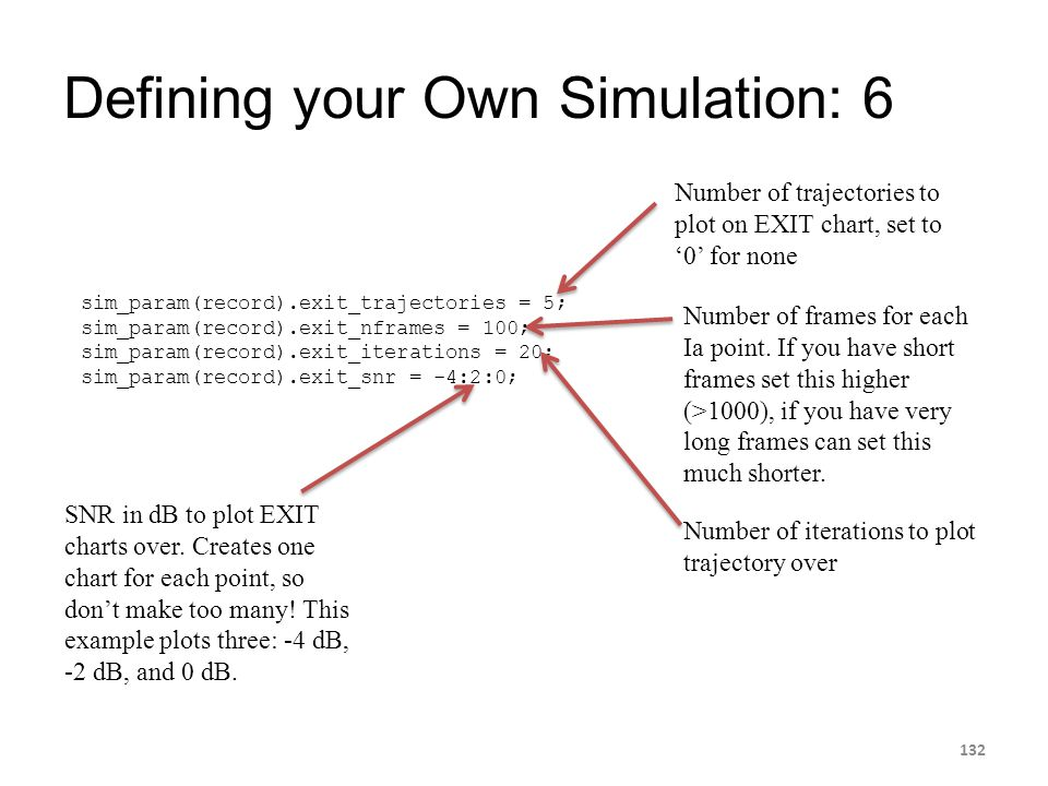 Defining your Own Simulation: 6 132 Number of trajectories to plot on EXIT chart, set to '0' for none sim_param(record).exit_trajectories = 5; sim_par
