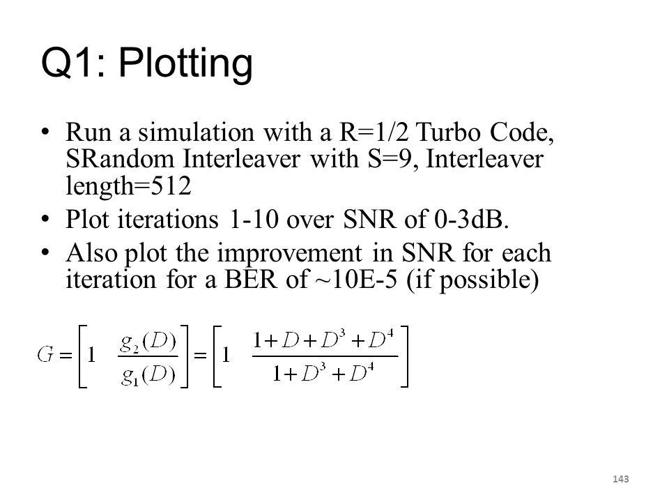 Q1: Plotting Run a simulation with a R=1/2 Turbo Code, SRandom Interleaver with S=9, Interleaver length=512 Plot iterations 1-10 over SNR of 0-3dB. Al