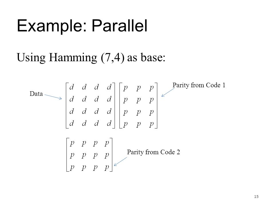 Example: Parallel Using Hamming (7,4) as base: Data Parity from Code 1 Parity from Code 2 15