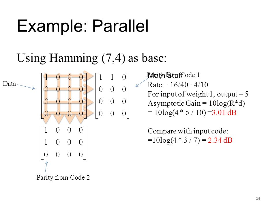 Example: Parallel Using Hamming (7,4) as base: Data Parity from Code 1 Parity from Code 2 Math Stuff Rate = 16/40 =4/10 For input of weight 1, output