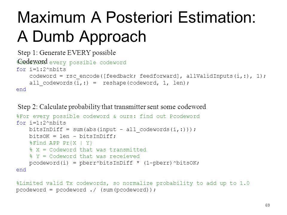Maximum A Posteriori Estimation: A Dumb Approach 69 %Generate every possible codeword for i=1:2^nbits codeword = rsc_encode([feedback; feedforward], a