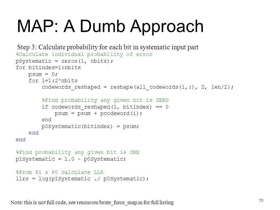 MAP: A Dumb Approach 70 %Calculate individual probability of error pSystematic = zeros(1, nbits); for bitindex=1:nbits psum = 0; for i=1:2^nbits codew