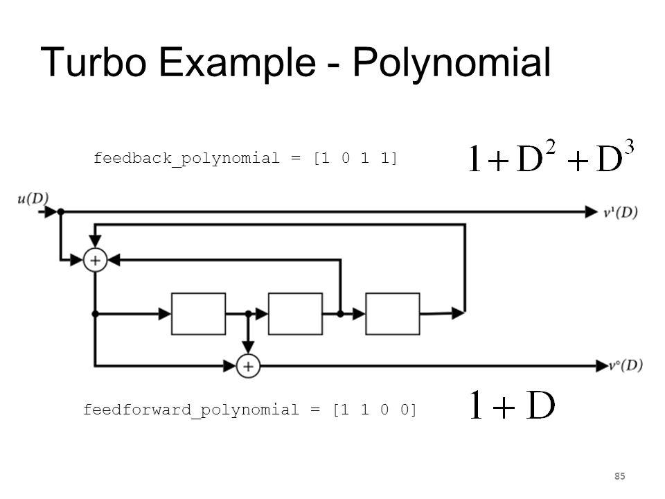 Turbo Example - Polynomial 85 feedback_polynomial = [1 0 1 1] feedforward_polynomial = [1 1 0 0]