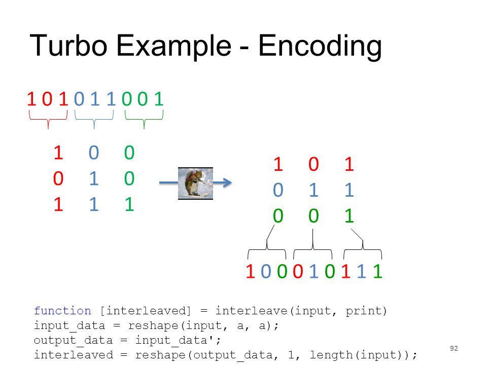 Turbo Example - Encoding 92 1 0 1 0 1 1 0 0 1 1 0 0 0 1 0 1 1 1 1 0 1 0 1 1 0 0 1 1 0 0 0 1 0 1 1 11 0 0 0 1 0 1 1 1 function [interleaved] = interlea