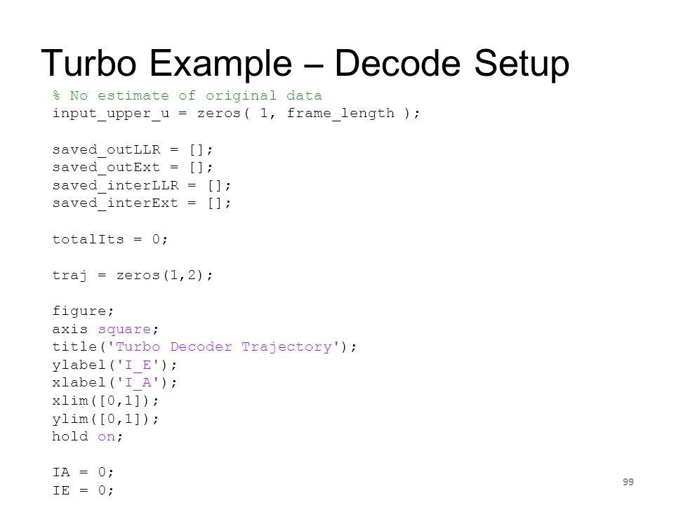 Turbo Example – Decode Setup 99 % No estimate of original data input_upper_u = zeros( 1, frame_length ); saved_outLLR = []; saved_outExt = []; saved_i