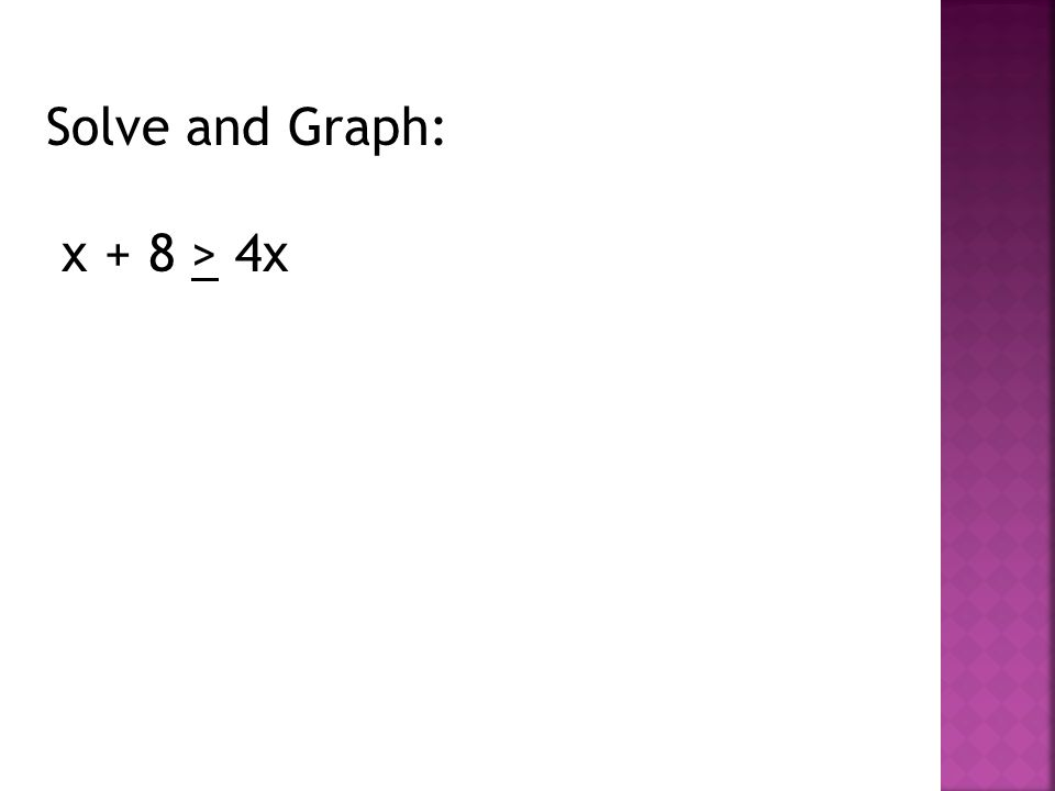 Solve and Graph: x + 8 > 4x