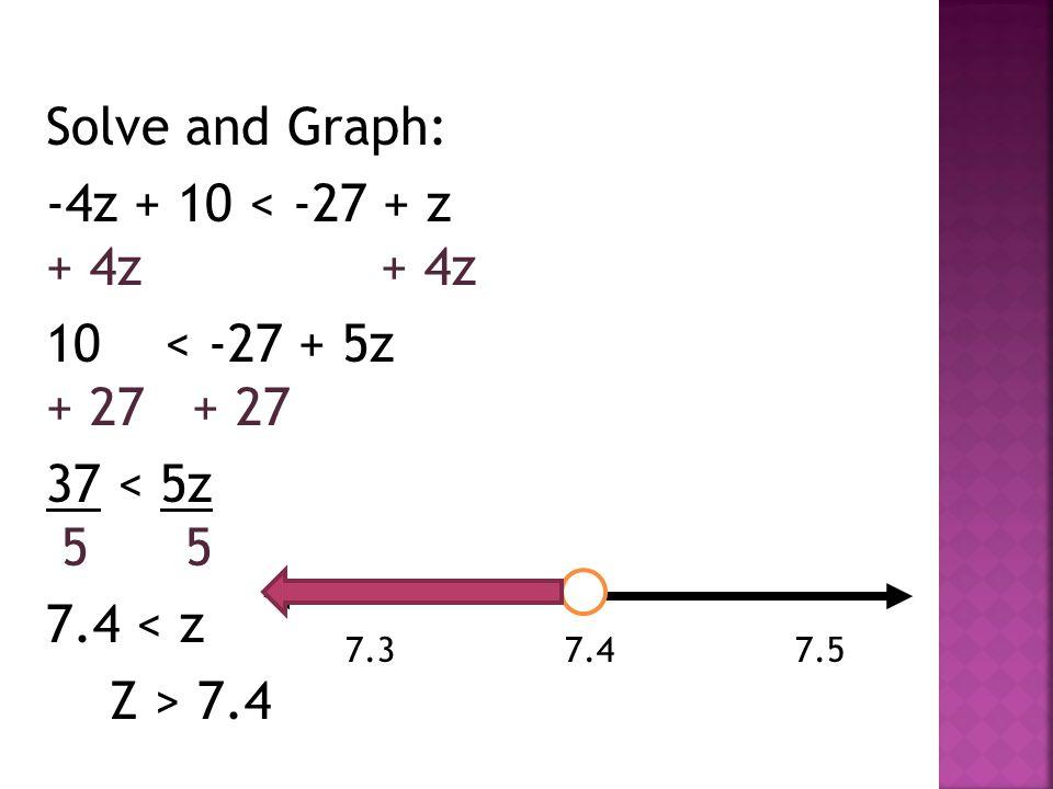 Solve and Graph: -4z + 10 < -27 + z + 4z 10 < -27 + 5z + 27 37 < 5z 5 5 7.4 < z Z > 7.4 7.3 7.4 7.5