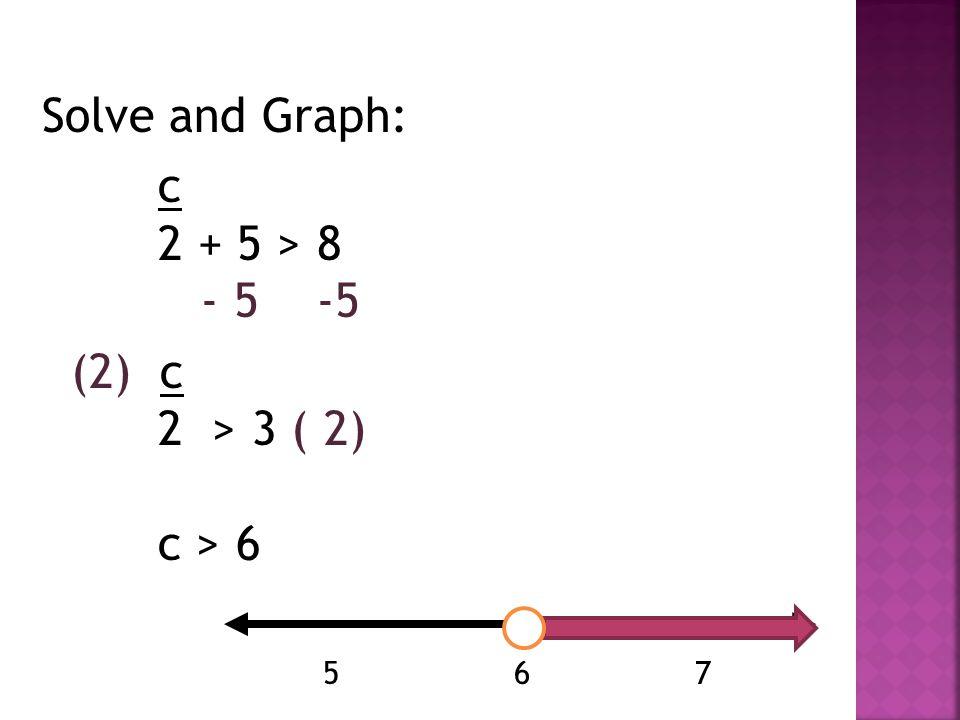 Solve and Graph: c 2 + 5 > 8 - 5 -5 (2) c 2 > 3 ( 2) c > 6 5 6 7