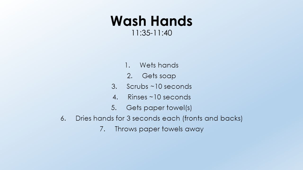 Wash Hands 11:35-11:40 1.Wets hands 2.Gets soap 3.Scrubs ~10 seconds 4.Rinses ~10 seconds 5.Gets paper towel(s) 6.Dries hands for 3 seconds each (fron