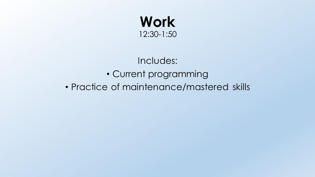 Work 12:30-1:50 Includes: Current programming Practice of maintenance/mastered skills