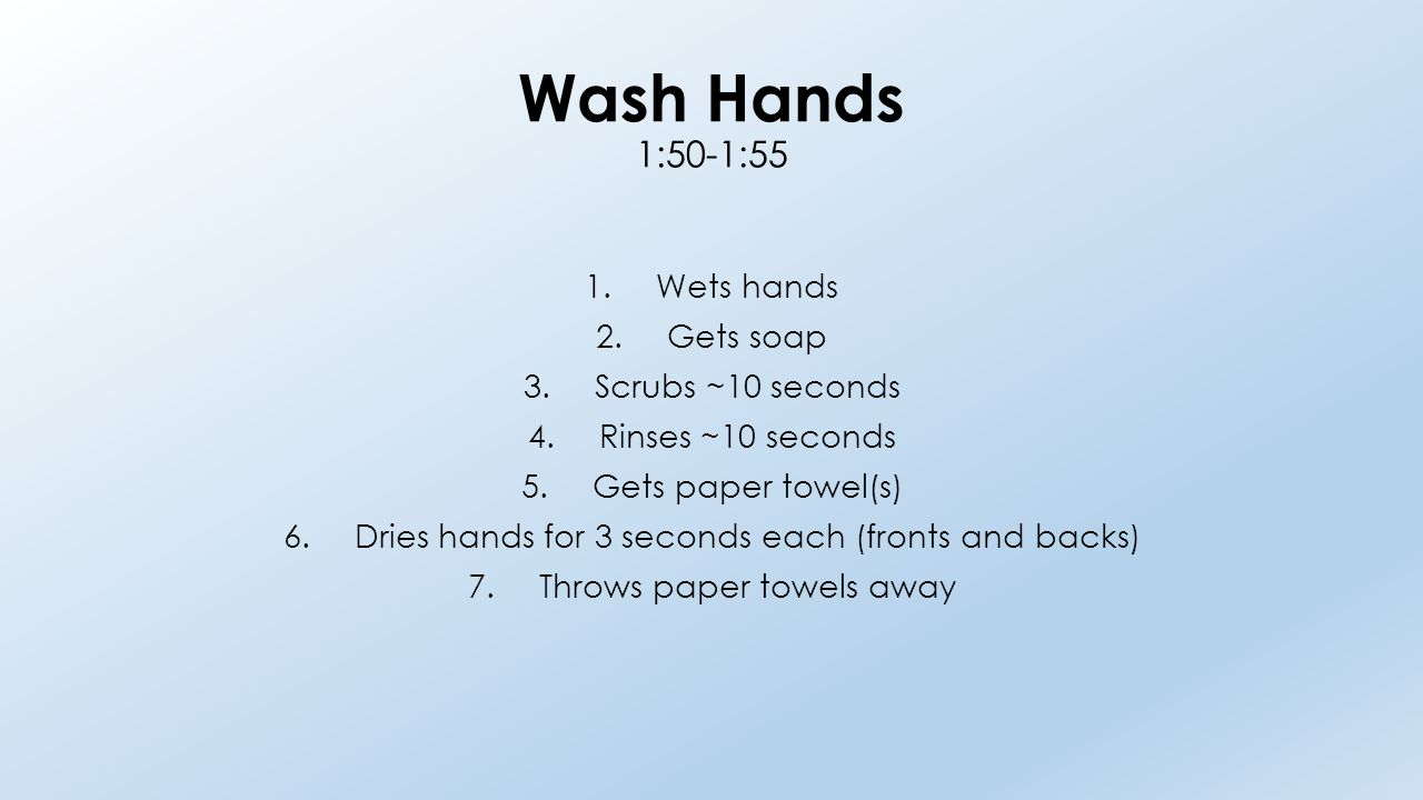 Wash Hands 1:50-1:55 1.Wets hands 2.Gets soap 3.Scrubs ~10 seconds 4.Rinses ~10 seconds 5.Gets paper towel(s) 6.Dries hands for 3 seconds each (fronts and backs) 7.Throws paper towels away
