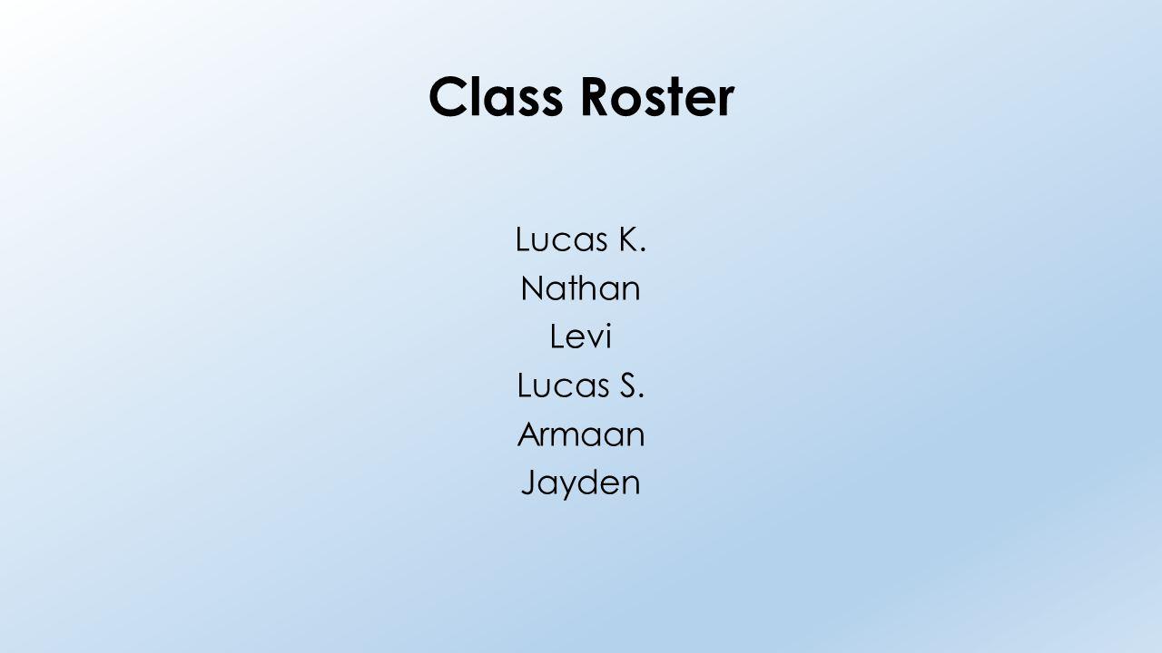 Class Roster Lucas K. Nathan Levi Lucas S. Armaan Jayden