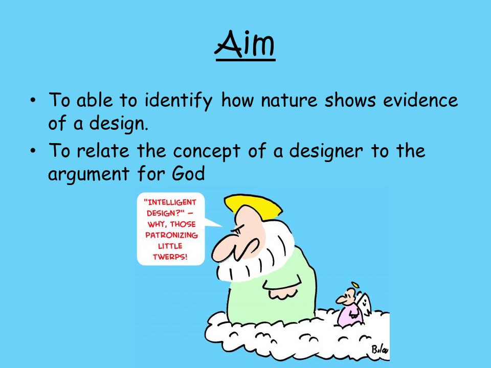 Aim To able to identify how nature shows evidence of a design. To relate the concept of a designer to the argument for God