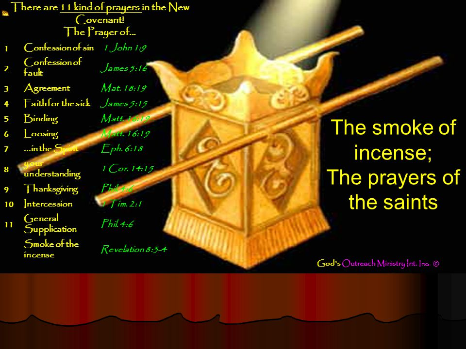 The smoke of the Golden Altar of incense; The prayers of the saints lifted up before the Throne of G-D.