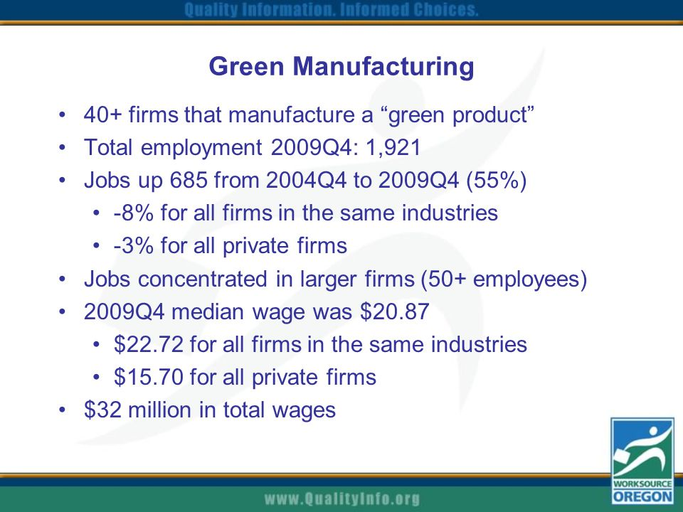 Green Manufacturing 40+ firms that manufacture a green product Total employment 2009Q4: 1,921 Jobs up 685 from 2004Q4 to 2009Q4 (55%) -8% for all firms in the same industries -3% for all private firms Jobs concentrated in larger firms (50+ employees) 2009Q4 median wage was $20.87 $22.72 for all firms in the same industries $15.70 for all private firms $32 million in total wages
