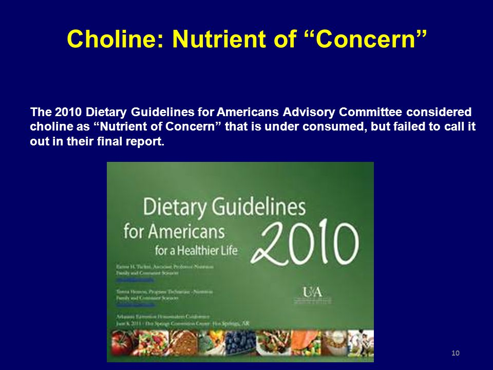 "10 The 2010 Dietary Guidelines for Americans Advisory Committee considered choline as ""Nutrient of Concern"" that is under consumed, but failed to call"