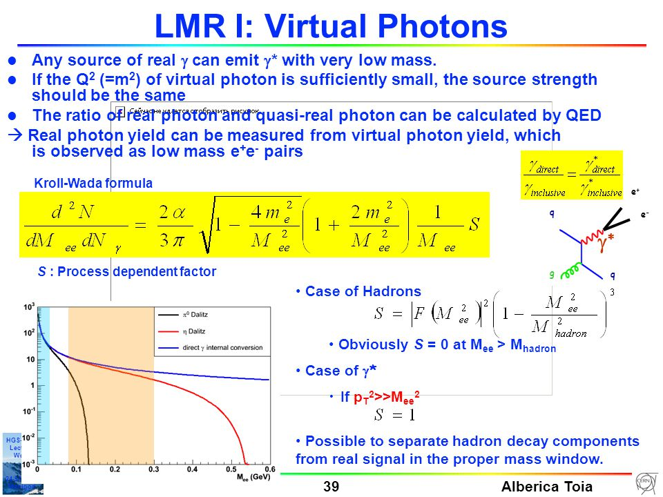 Alberica Toia 39 HGS-HIRe Lecture Week 24-31-01/10 Manigod LMR I: Virtual Photons Any source of real  can emit  * with very low mass.