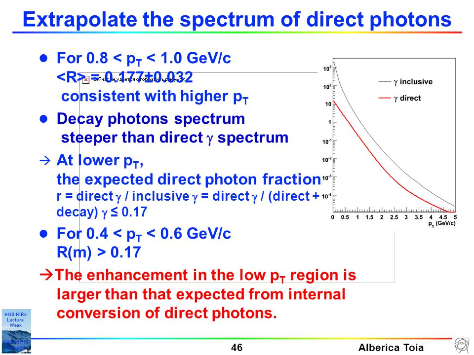 Alberica Toia 46 HGS-HIRe Lecture Week 24-31-01/10 Manigod Extrapolate the spectrum of direct photons l For 0.8 = 0.177±0.032 consistent with higher p T Decay photons spectrum steeper than direct  spectrum  At lower p T, the expected direct photon fraction r = direct  / inclusive  = direct  / (direct + decay)  ≤ 0.17 l For 0.4 0.17  The enhancement in the low p T region is larger than that expected from internal conversion of direct photons.