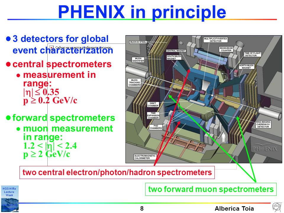 Alberica Toia 8 HGS-HIRe Lecture Week 24-31-01/10 Manigod PHENIX in principle l 3 detectors for global event characterization two forward muon spectrometers l forward spectrometers l muon measurement in range: 1.2 < |  | < 2.4 p  2 GeV/c l central spectrometers l measurement in range:  0.35 p  0.2 GeV/c two central electron/photon/hadron spectrometers