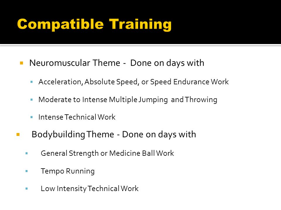  Neuromuscular Theme - Done on days with  Acceleration, Absolute Speed, or Speed Endurance Work  Moderate to Intense Multiple Jumping and Throwing  Intense Technical Work  Bodybuilding Theme - Done on days with  General Strength or Medicine Ball Work  Tempo Running  Low Intensity Technical Work