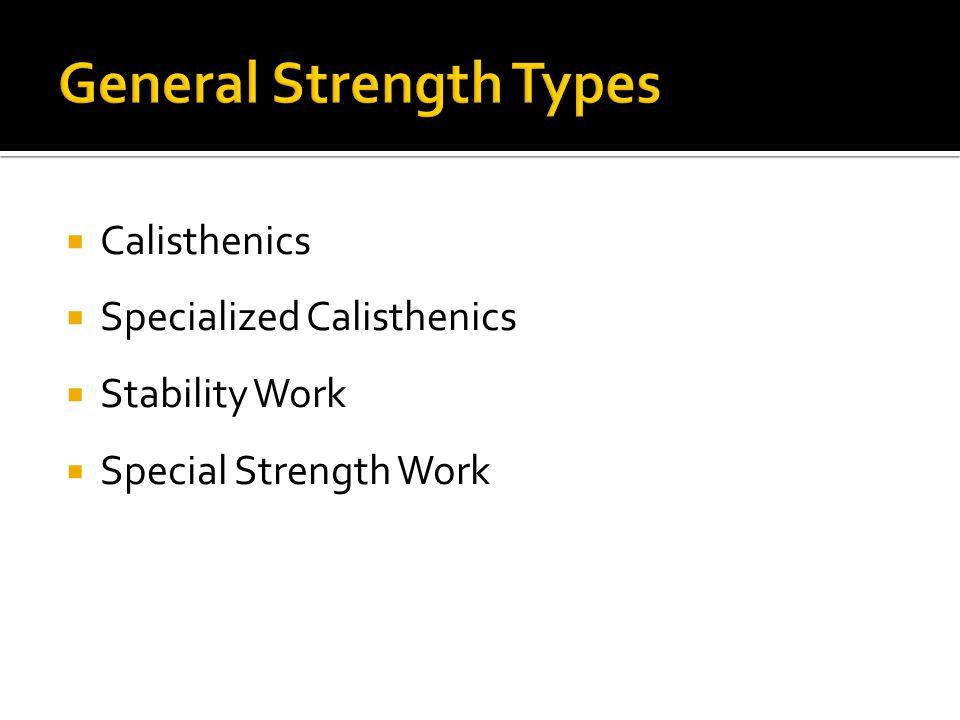  Calisthenics  Specialized Calisthenics  Stability Work  Special Strength Work