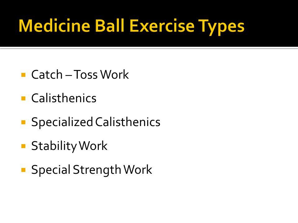  Catch – Toss Work  Calisthenics  Specialized Calisthenics  Stability Work  Special Strength Work