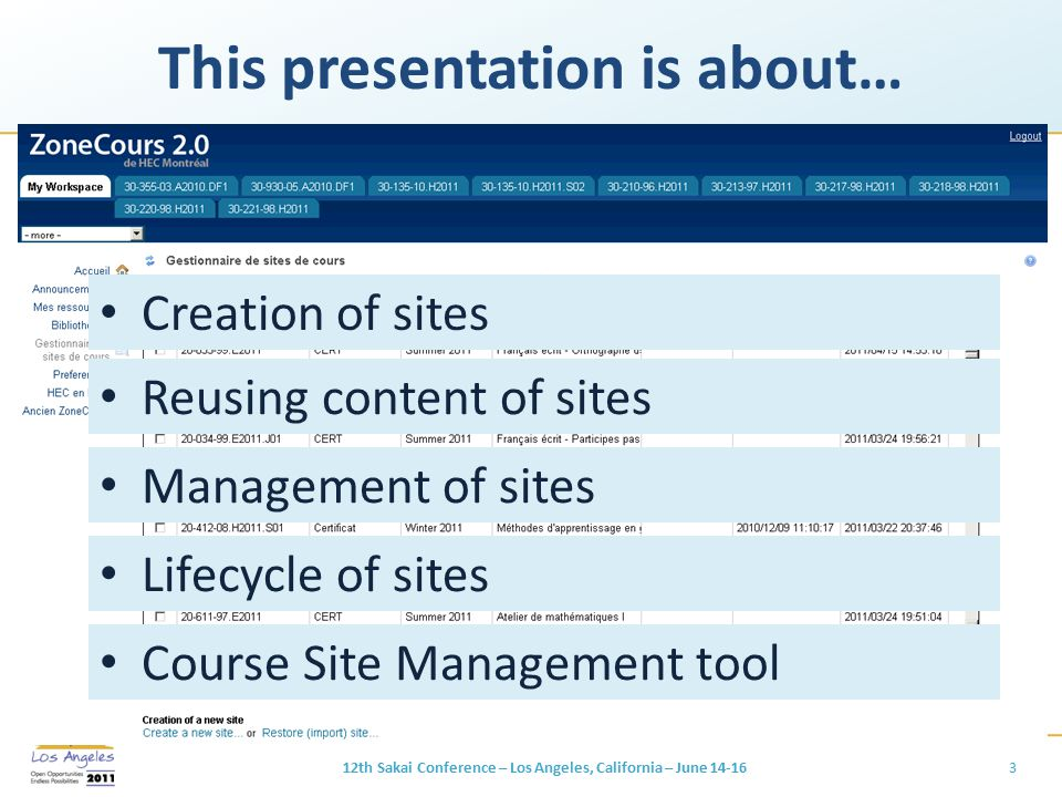 This presentation is about… 12th Sakai Conference – Los Angeles, California – June 14-163 Creation of sites Reusing content of sites Management of sit